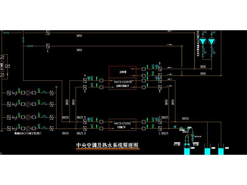 全热回收水源热泵中央空调及热水系统图