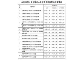 【山东省】关于重新核定部分专业技术人员资格考试收费标准的补充通知